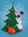 Free Snowman With Gift Bag And Christmas Tree Royalty Free Stock Photos - 17182678