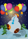 Free Snowman With Colorful Balloons Stock Images - 17182684