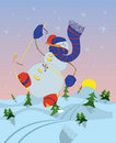 Free Snowman Skiing In The Morning Stock Photo - 17182690