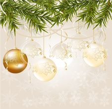 Gold End White Transparent Christmas Ball Stock Images