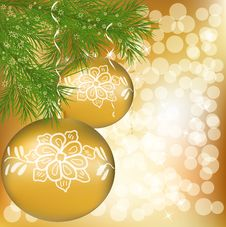 Vector Christmas Ball With Green New Year Tree Royalty Free Stock Photos