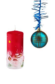 Free Christmas Decoration With Ball And Candle Royalty Free Stock Images - 17180329