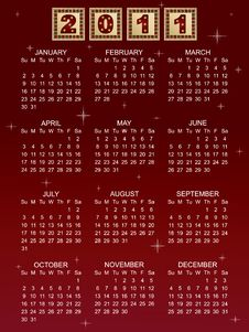 Free Calender For 2011 Royalty Free Stock Photos - 17180598