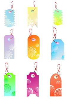 Tags With Snowflakes' And Flowers' Silhouettes Royalty Free Stock Images