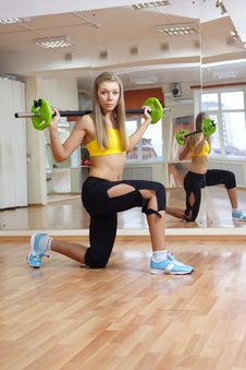 Free Beautiful Girl With Weight Gym Indoors Royalty Free Stock Photography - 17180797
