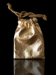 Free Gold Leather Bag With Gold Rope Royalty Free Stock Image - 17180856
