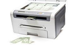 Free Printer And Money Royalty Free Stock Image - 17180866