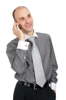 Young Business Man Talking On Mobile Phone Stock Photos