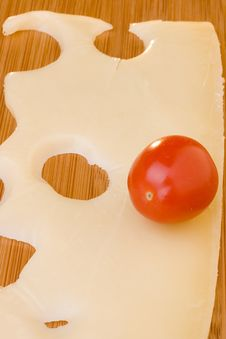 Cheese Slice And Red Tomato Royalty Free Stock Photography