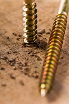 Free Screw With Wood Shavings Royalty Free Stock Photography - 17181757
