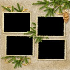 Card For The Holiday With Branches And Balls Royalty Free Stock Photo