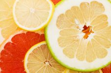 Free Fresh Grapefruit And Slices Background Royalty Free Stock Photo - 17182035