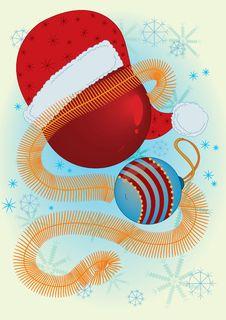 Free Christmas Balls And Santa Claus Hat Royalty Free Stock Photo - 17182705