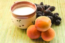 Free Cup Of Milk Grape And Apricots Royalty Free Stock Photos - 17183388