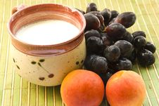 Free Grape Apricot And Cup Of Milk Royalty Free Stock Images - 17183419
