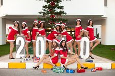 Ten Beautiful Santas Stock Image
