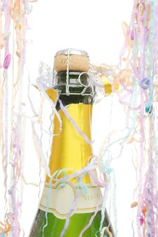 Free Champagne And Streamers Royalty Free Stock Photography - 17184547