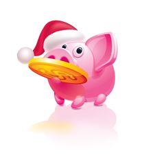 Free New Year S Piggy Bank With A Coin Stock Photo - 17184830