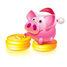 Free New Year S Piggy Bank Guard Royalty Free Stock Image - 17185256