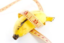 Diet Banana On White Background Royalty Free Stock Images