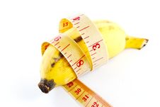 Diet Banana On White Background Royalty Free Stock Photography