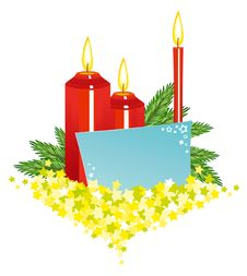 Free Christmas Candles With Card Stock Photo - 17185410