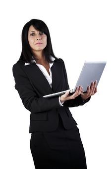 Free Business Woman Rwhit Laptop Royalty Free Stock Image - 17186846