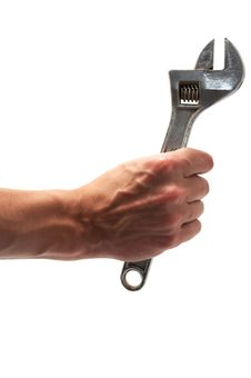 Free Wrench In Hand Isolated White Stock Photos - 17187253