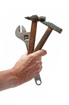 Free Wrench And 2 Hammers In Hand Stock Image - 17187261