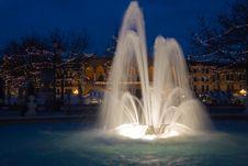 Fountain In Night Stock Photo