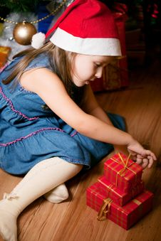 Girl Waits Gifts Royalty Free Stock Photography