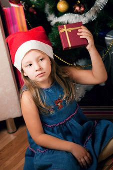 Girl Waits Gifts Stock Images