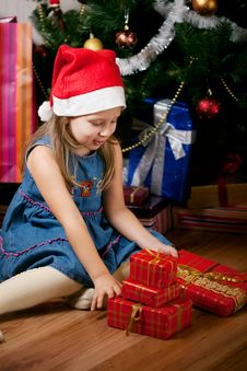 Girl Waits Gifts Stock Photography
