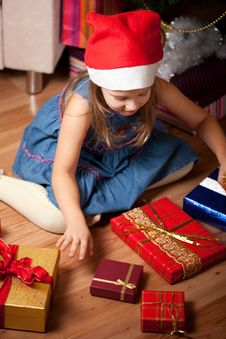 Girl Waits Gifts Stock Photos