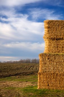 Free Stack Of Hay Bales In Plowed Field 2 Royalty Free Stock Images - 17188989
