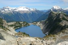 Mountain Lake And Snowy Peaks Royalty Free Stock Images