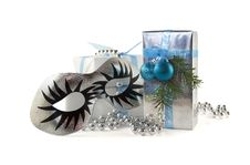 Free Christmas Gift And Silver Carnival Masks Stock Images - 17189614