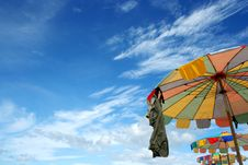 Free Colorful Beach Umbrella Royalty Free Stock Photos - 17189928