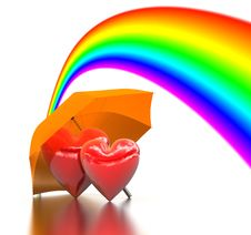 Rainbow Above A Two Bound Hearts And Umbrella Stock Photography