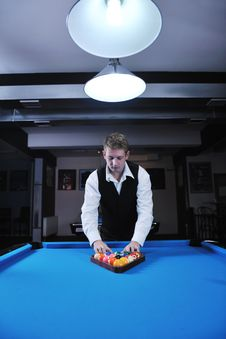 Free Young Man Play Pro Billiard Game Stock Image - 17194181