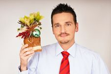 Young Man Hold Christmas Gift Stock Image