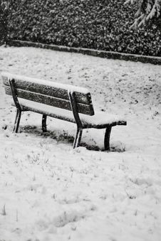 A Bench: Solitude In The Snow Storm Royalty Free Stock Photo