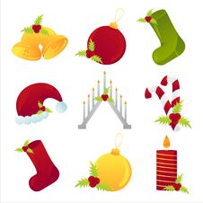 Free Set Of 9 Christmas Icons Stock Photography - 17195462