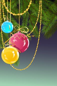 Christmas And New Year S Background With Ball Stock Images