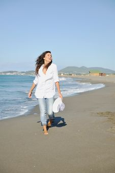 Free Happy Young Woman On Beach Stock Photos - 17197143