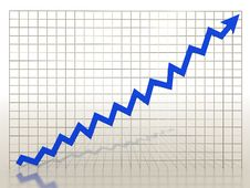 Free Growth Charts From The Blue Arrows Royalty Free Stock Images - 17197639