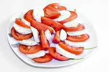 Free Tomatoes With Mozarella On A Plate Stock Photography - 17197822
