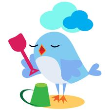 Free Bird Playing With Spade On The Sand Royalty Free Stock Photos - 17197898