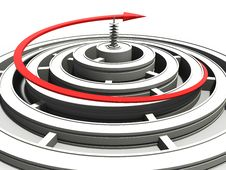 Free White Round The Maze And The Red Arrow Royalty Free Stock Photos - 17198488