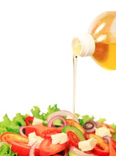 Free Summer Salad And Pouring Oil Royalty Free Stock Image - 17199196